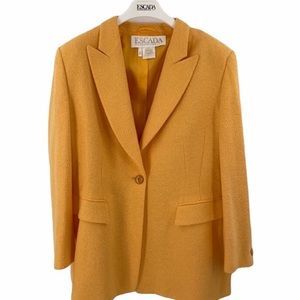 Escada size 14 yellow angora virgin wool blazer